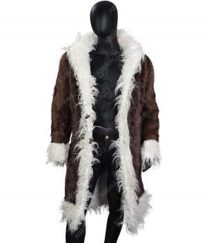 Harrison Brown Fur Long Coat With White Fur Trim