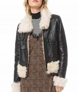 Itaewon Class Kim Da-Mi Leather Jacket With Shearling Trim