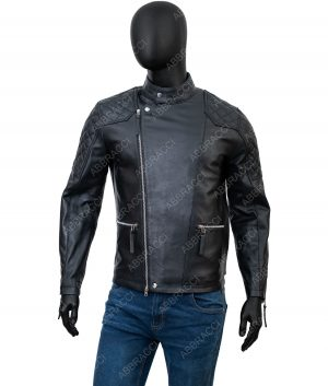 Johnathan Quilted Black Leather Jacket