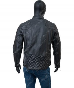 Johnathan Black Leather Quilted Jacket