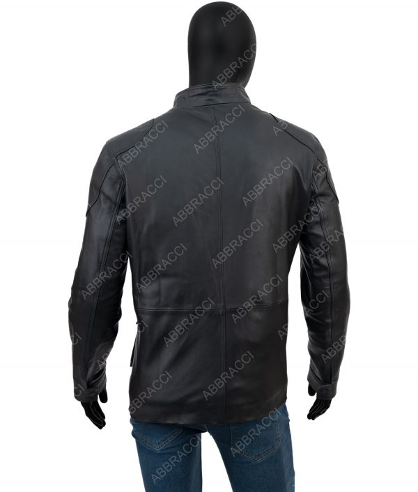 Leonardo Four Pocket Black Leather Jacket