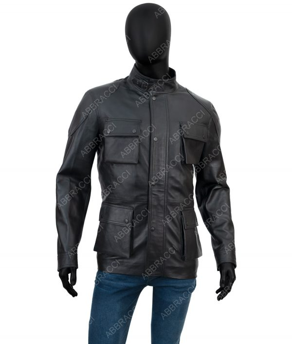 Leonardo Black Leather Four Pocket Jacket