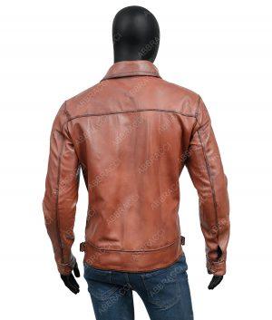 Mens Brown Cognac Shirt Collar Vintage Leather Jacket