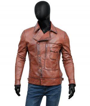Mens Brown Cognac Shirt Collar Vintage Jacket