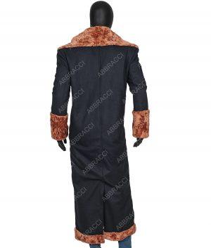 Mens Long Shearling Trench Coat