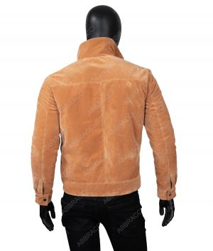 Mens Lapel Collar Suede Leather Jacket