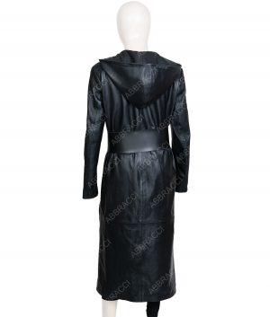 Samantha Black Leather Long Coat