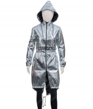 Womens Silver Hooded Coat