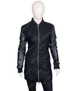 Womens Zipper Closer Leather Coat