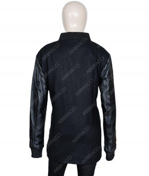 Womens Zipper Closer Leather Sleeves Black Blazer Coat