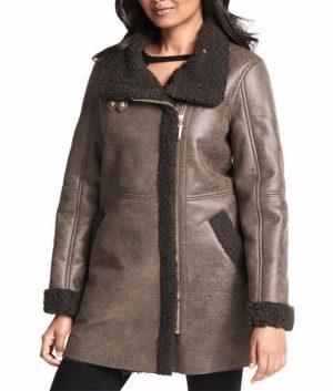 Asymmetrical Zip Faux Coat