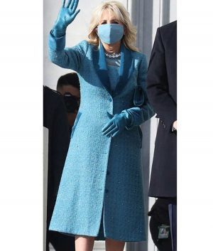 Jill Biden Blue Trench Coat For Women's