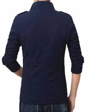 Men's Blue Wool-Blend Shearling Jacket For Winters