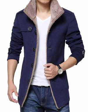 Mens Blue Shearling Jacket