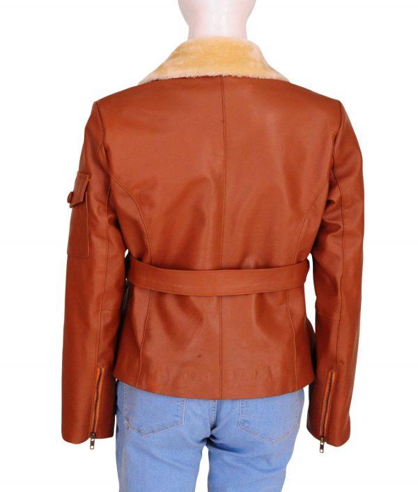 amy adams aviator brown leather jacket