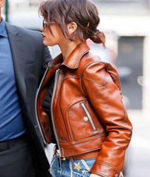 Brown Selena Gomez Leather Jacket