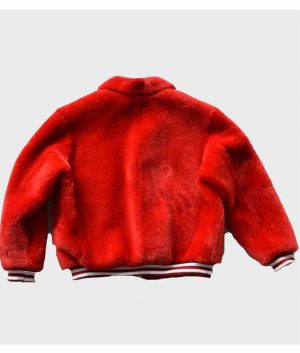 Red Shearling Bomber Jacket