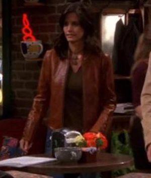 FRIENDS Monica Geller S09 E07 Brown Leather Jacket