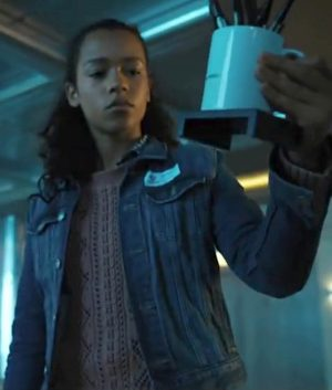 Taylor Russell Escape Room Zoey Davis Slim Fit Blue Jacket