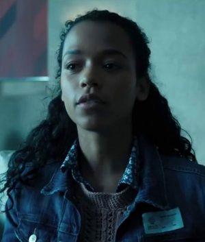 Taylor Russell Escape Room Zoey Davis Slim Fit Blue Denim Jacket