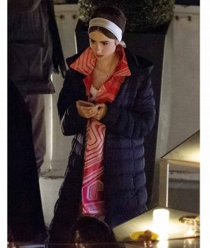 Lily Collins Emily in Paris Season 02 Puffer Coat