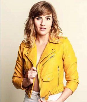 BattleBots S01 Alison Haislip Yellow Leather Jacket