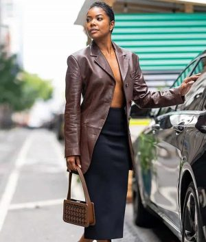 Gabrielle Union Leather Blazer