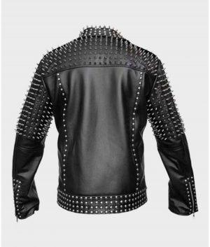 Mens Black Motorcycle Studded Jacket