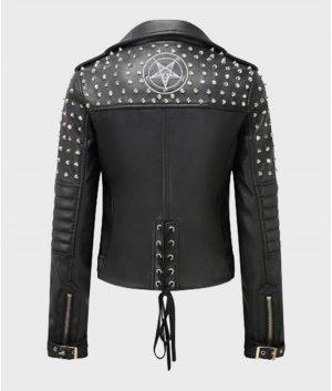 Womens Black Motorcycle Studded Jacket