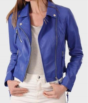 Womens Blue Classic Motorcycle Leather Jacket
