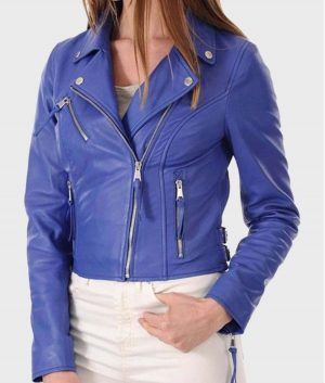 Womens Blue Classic Leather Jacket