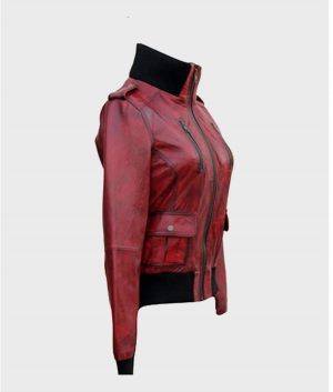 Womens Red Bomber Style Leather Jacket