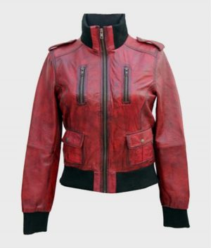 Womens Red Style Leather Jacket