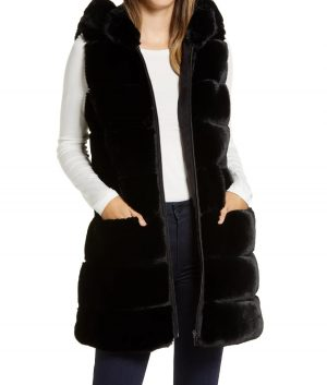 Women's Via Spiga Grooved Faux Fur Hooded Vest